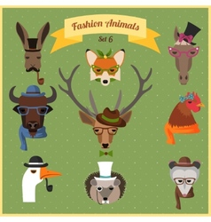 Fashion Hipster Animals set 6 vector image vector image