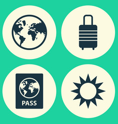 journey icons set collection of suitcase sunny vector image