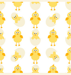 pattern with little chickens vector image vector image