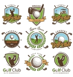 Set of vintage golf emblems vector