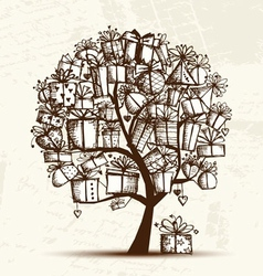 Sketch tree with gift boxes for your design vector image vector image
