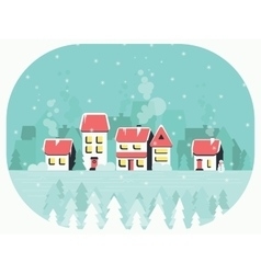 Winter background with a peaceful village in snow vector image vector image