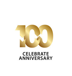 100 years anniversary celebrate gold template vector