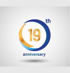 19 anniversary design with blue and golden circle vector