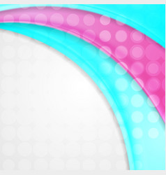 abstract pink and turquoise waves with circles vector image