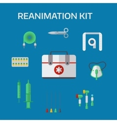 Ambulance reanimation icons vector image