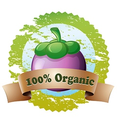 An organic label with an eggplant vector