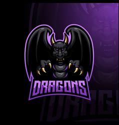 angry dragon mascot vector image