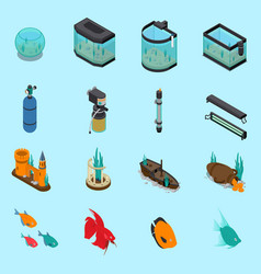 aquarium icons set vector image