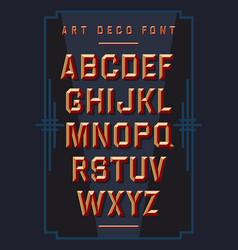Art deco chiseled alphabet retro style font vector