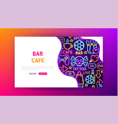 bar cafe neon landing page vector image