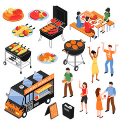 Barbecue isometric set vector