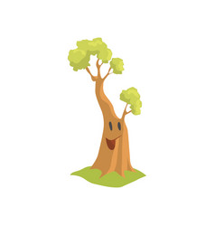 big humanized tree with happy face expression vector image
