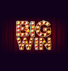 big win banner casino 3d glowing element vector image