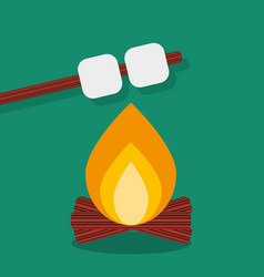 Bonfire with marshmallow camping grill outdoor vector
