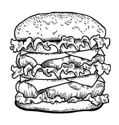 Cartoon image of tasty burger vector