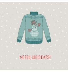 Christmas card sweater with snowman vector image