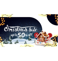 christmas sale up to 50 off white and blue vector image