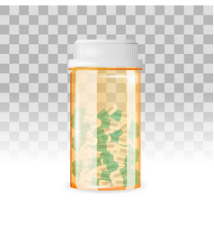 closed bottle of capsule shaped pills on the vector image
