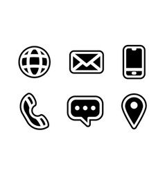 contact us icon set communication icon symbol vector image