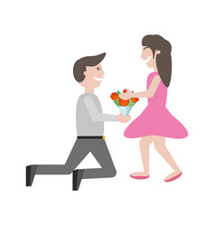 couple romance- man kneel give flowers girl vector image