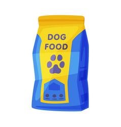 Dog food packaging pet animal dry canned food bag vector