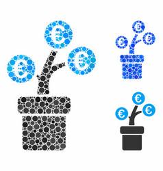 euro tree pot composition icon circle dots vector image
