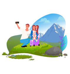 family taking selfie in mountains trip or tourism vector image