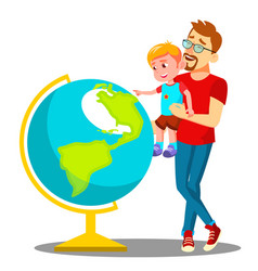 father and son looking at the globe vector image