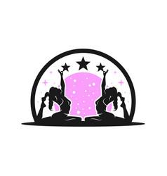 female yoga sport logo design vector image