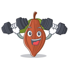 fitness cacao bean character cartoon vector image