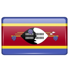Flags Swaziland in the form of a magnet on vector