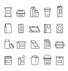 food packaging symbols line art icon set vector image