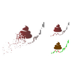 Fragmented dot halftone shit hyip candle chart vector
