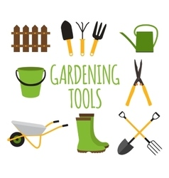 Gardening Tools Instruments Flat Icon Collection vector image