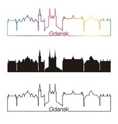 gdansk skyline linear style with rainbow vector image