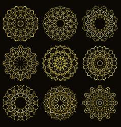 Gold sparkling mandala vector