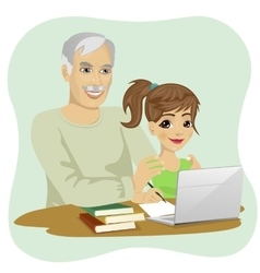 Granddaughter helping grandfather to use laptop vector