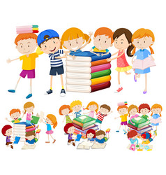 group of children and book vector image