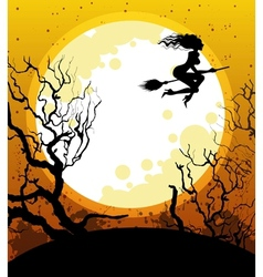 Halloween background with witch vector