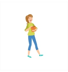 Happy Girl Going To The Cinema With Paper Popcorn vector