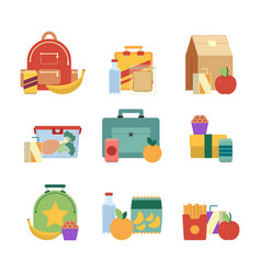 Healthy lunch in plastic box lunchbox for kids vector