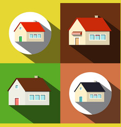 Houses icons private buildings symbols set vector