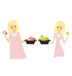 Isolated thick and thin girls vector