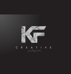 Kf k f letter logo with zebra lines texture vector