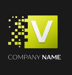 letter v logo symbol in the colorful square vector image