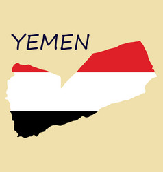 Map of yemen with the image of the national flag vector