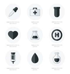 Medical Flat Icons Design black and white color vector