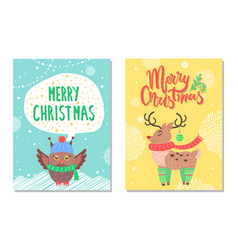merry christmas greeting cards with owl and deer vector image