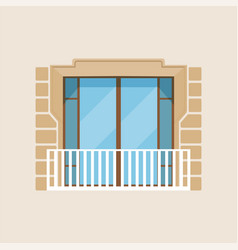 Modern balcony classical house facade vector